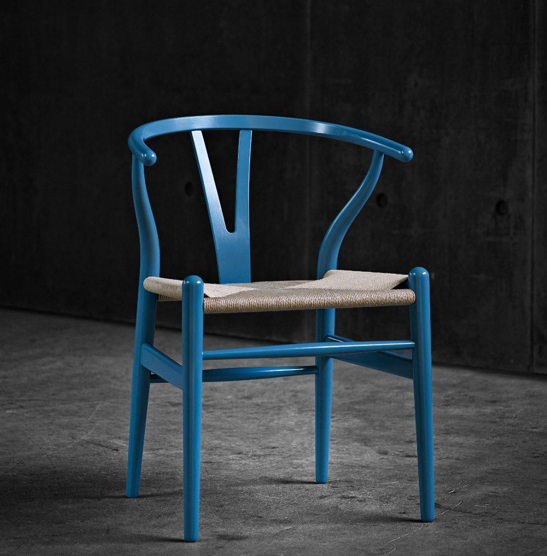 A blue Carl Hansen & Søn Wishbone chair