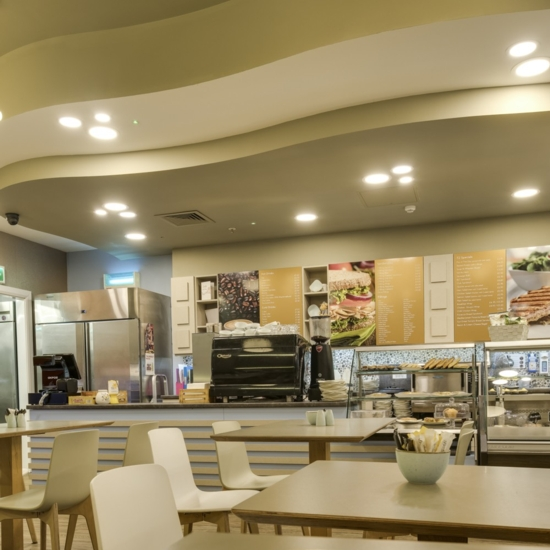 This image shows the interior of the T2 Cafe in Enniskillen
