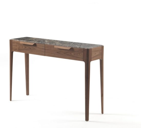 Ziggy 10 console table in canaletta walnut with marble top